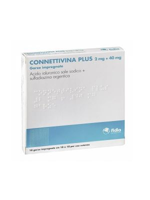 CONNETTIVINA PLUS 10 GARZE IMPREGNATE 2MG + 40MG